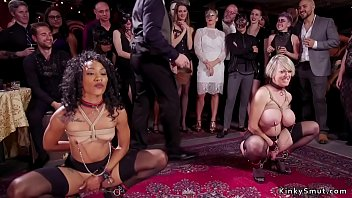 Ebony gets huge cock pussy fuck at swingers bdsm party