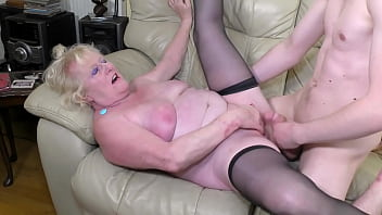 OLDNANNY Hairy well aged mature lady got dildo inside