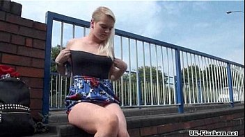 Blonde teen Carly Rae in public nudity and rude exhibitionist outdoor masturbati