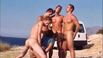 Boys at sea. Bareback