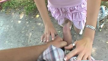 Adorable babe fucked in public for money