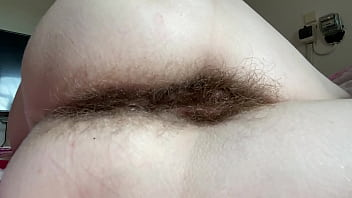 Hairy ass asshole fetish video in closeup super hairy