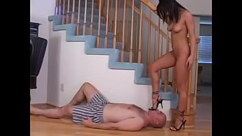 Femdoms trample slaves and there is foot worship and foot domination and POV