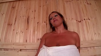 Huge tit milf has sex in the sauna