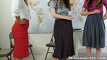 Teenage Mormon duo spanked and fingered