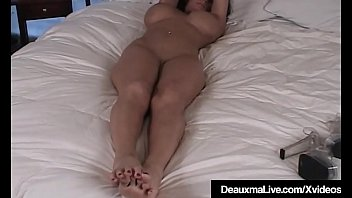 Busty Cougar Deauxma shows off her rock hard nude body, huge boobs & awesome toes, soles & feet, lying in bed, just for you!