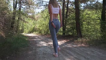 Russian model having fun in the forest, shows hairy armpits and pussy and masturbates