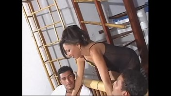 Sexy latina slut takes two cocks in her cunt and asshole
