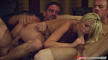Slutty cock-hungry blonde Bibi Jones gets double teamed