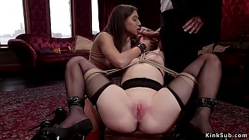 Masochist slave Abella Danger and slut Zoe Parker in bondage sucking same dick then blonde fucked from behind while licking brunettes pussy in the upper floor