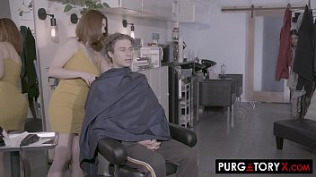 Two busty hairdressers take turns fucking a client