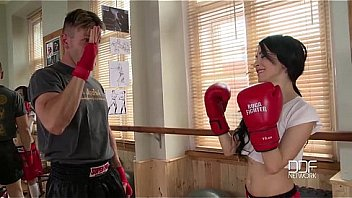 EuroTeen-Petite female boxer with ultra tight pussy gets ass fucked