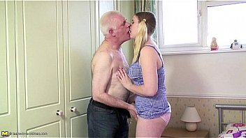 Blonde teen fucked by an old man