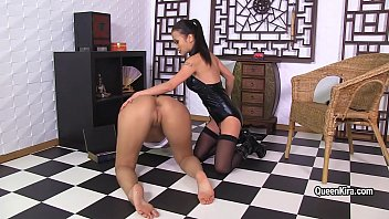 Russian busty brunette licking pussy Asian Mistress and masturbates her pussy