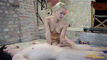 Shy porcelain doll giving a handjob 10