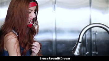 Watch Young Girl In New Braces Banged From Behind By Date After Headgear Lock To Kitchen Faucet preview
