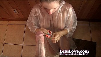 Sucking your condom covered cock POV until you cum in my mouth