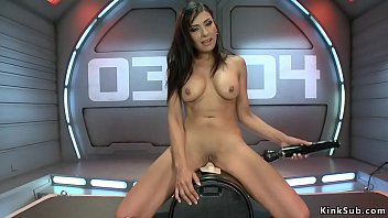Big fake boobs dark haired Milf Beretta James rides Sybian and vibrates clit then in shaved pussy takes fucking machine at fast speed