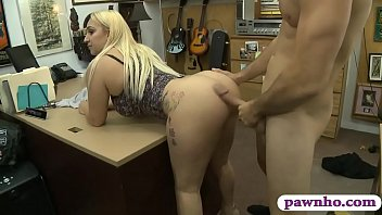 Big ass and big tits woman pussy banged at the pawnshop