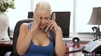 Big titties office MILF gets licked while on the phone