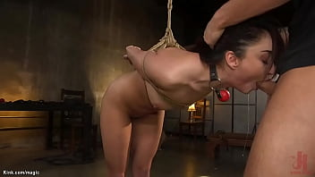 Bound on knees with arms tied back and face down red headed slave Isabella Nice ass hooked and pussy fucked then anal fucked by big cock master Seth Gamble on sessions