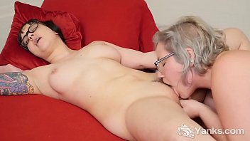 Naughty lesbian cuties with glasses Clementine And Vi eating their pussies to orgasm