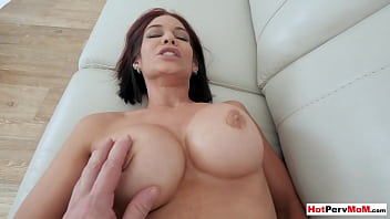 Banging my redhead MILF stepmoms shaved pussy roughly