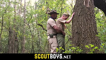 Scout boys experiment first time gay sex with the leader in camp