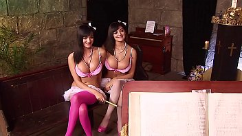 Insanely Hot British Twins Fucking Each Other AND the Priest in Church. Huge Natural Boobs!