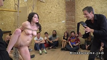 Naked butt plugged brunette Euro slave Francesca DiCaprio walking d. in public fountain