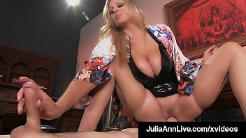 Milf Goddess, Julia Ann, motorboats her slave boy's face, stuffing her wet fuck hole into his mouth, stroking his hard cock but not letting him cum! Full Video & Julia Live @ JuliaAnnLive.com!