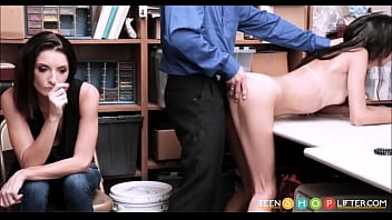 Skinny Latino thief fucked by a cop while her m. watches