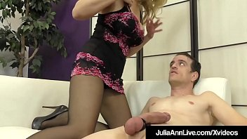 Big Boobed Milf Julia Ann punishes a feeble cock, teasing & a. him to fuck her stocking clad legs until he drops his load on her pantyhose covered feet!