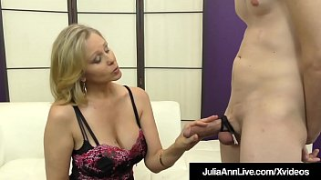 Watch Big Boobed Milf Julia Ann punishes a feeble cock, teasing & abusing him to fuck her stocking clad legs until he drops his load on her pantyhose covered feet! preview