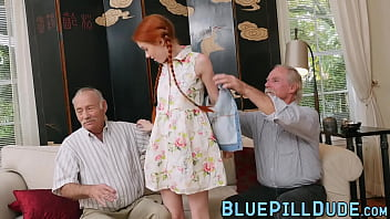 Old geezer pussy drills ginger teen