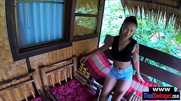 Real amateur Thai couple quickie fuck at a beach resort