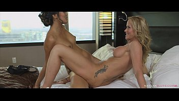 Hot steamy girl girl sex in a hotel room for milf Simone Sonay and Teen Angelina Chung