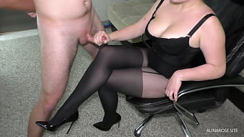 Busty Teacher came to home to student and handjob on her thigh in Pantyhose