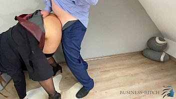 boss fucking secretary in a sexy red leather skirt standing and pushed to the wall - lunch break quickie