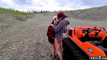 Hubby banging a busty teen and a redhead MILF outdoor