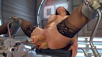 Big tits solo brunette lady Veronica Avluv in black stockings spreads legs in gyno chair and then takes double penetration machines and squirts