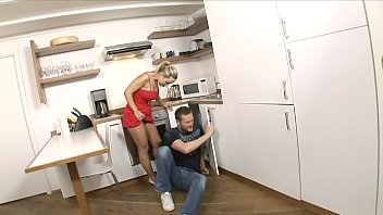 Playful blonde housewife Mia Leone was drilled by mobile plumber on the kitchen