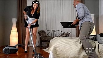 Busty milf maid fucked by business man