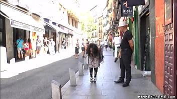Bound Spanish brunette slave Dunia Montenegro is public on the streets then throat and pussy fucked outdoors and in gaming house