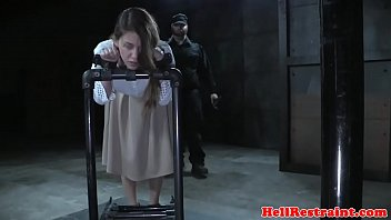 Restrained sub getting her nipples punished