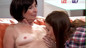 Curious granny debuts on lesbian sex as she tastes sweet pussy