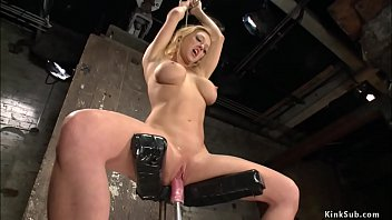 Tied in eagle spread bondage to wall huge tits blonde pornstar Dee Williams gets in shaved pussy machine from below then fucksand squirts in other positions
