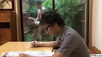 Uncensored Japanese wife with big tits has brazenly unfaithful standing doggystyle sex with the gardener while her husband sits in front of them remaining blissfully unaware in HD with subtitles