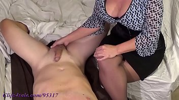 Watch Mature jerks cock_cum on her tits preview