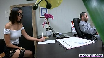 Nerdy teen fucks with boss on 1st day of work